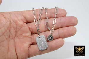 Dog Tag Necklace, CZ Silver Rectangle Pendants - A Girls Gems