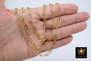 Gold Chain Necklace, Paper Clip Chain 14 K GF Toggle Bar Choker - A Girls Gems