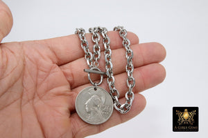 Greek Athena God Silver Coin Necklace, Silver Phoenix Toggle Wrap Necklace, Chunky Cable Chain - A Girls Gems