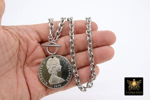 Silver Coin Necklace, Tangaroa God, Toggle Wrap Large Cable Chain, Cook Island Tiki Coin, Queen Elizabeth - A Girls Gems