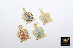 CZ Pave Turtle Charms - A Girls Gems