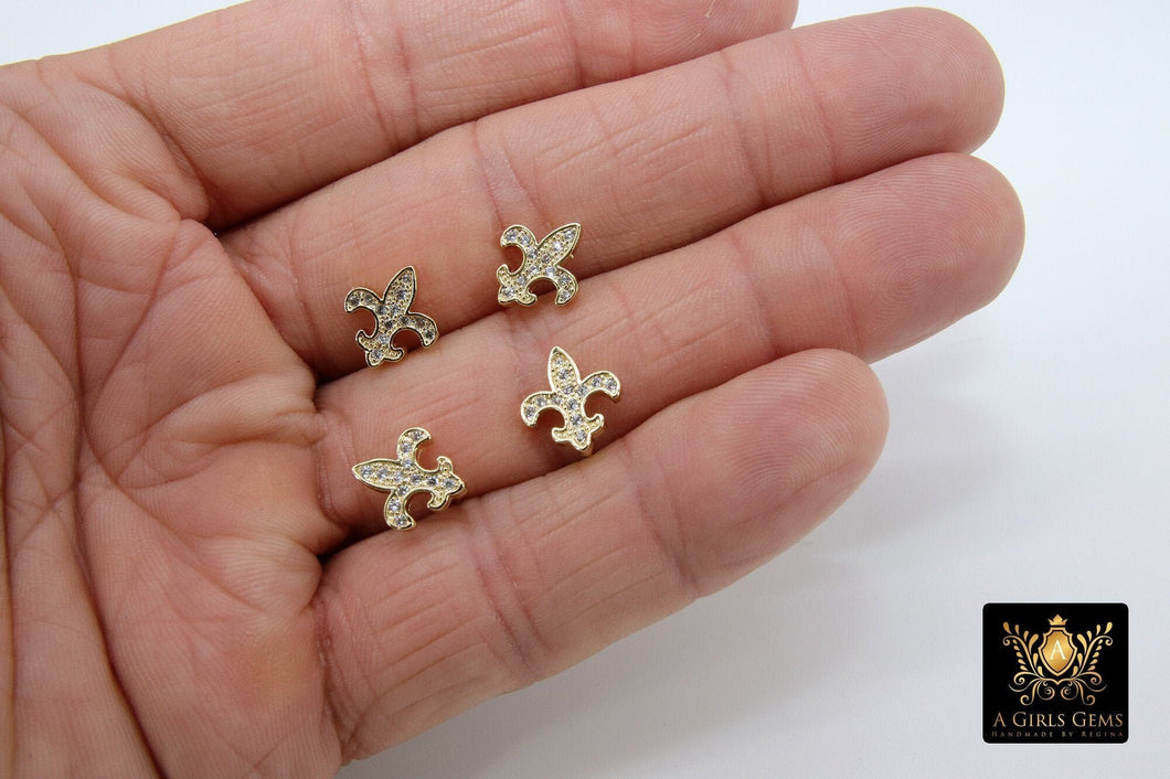 CZ Pave Fleur De Leis Earrings, Tiny Earring Studs, French Quarters Lily - A Girls Gems