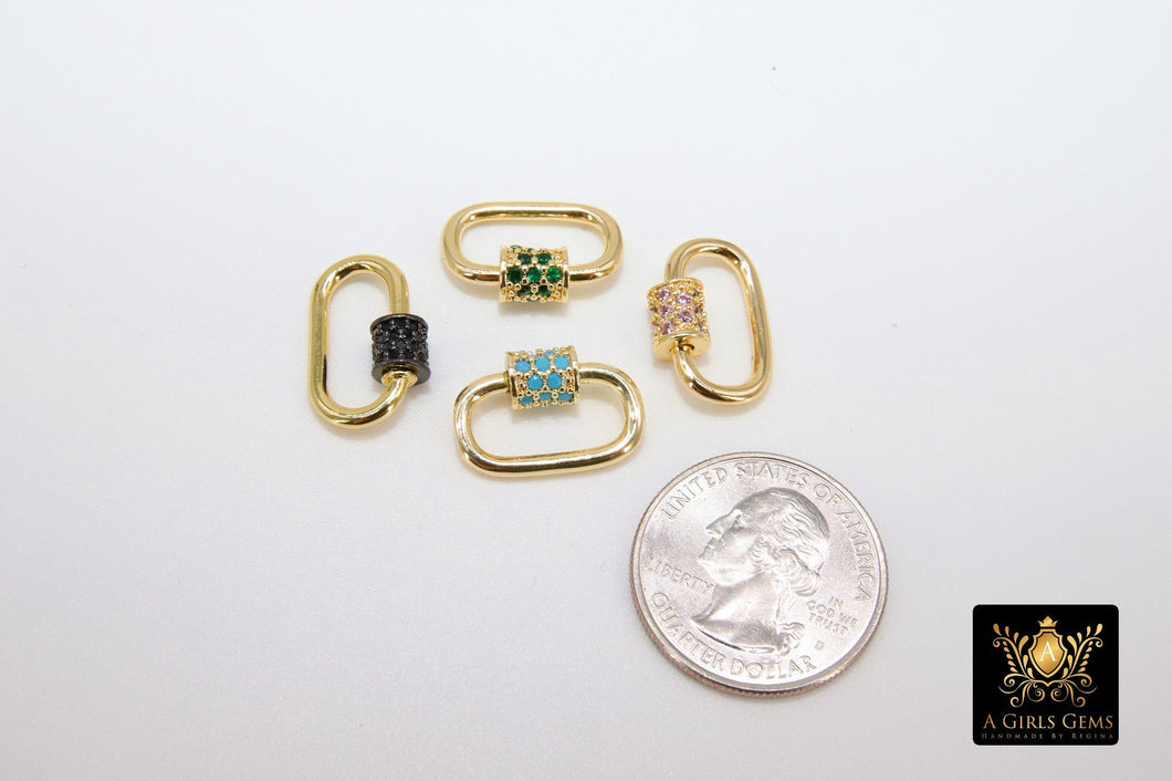 Gold CZ Mini Oval Screw Clasps, Emerald, Blue - A Girls Gems
