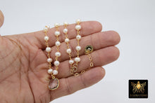 Load image into Gallery viewer, Freshwater Pearl Rosary Chain Necklace, 14 K Gold Toggle Bar 6 mm Pearl Choker - A Girls Gems