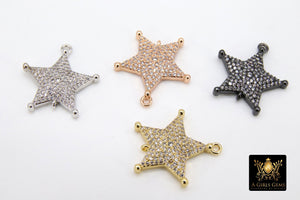 CZ Pave Star Connectors, Cubic Zirconia Starburst Charms, Gold - A Girls Gems