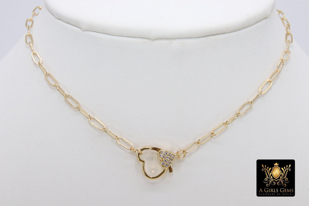 Front Clasp Necklace, 14 K Gold Filled Heart Lobster Clasp Wrap Choker - A Girls Gems