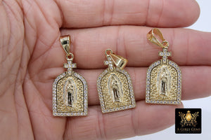 Gold Jesus Virgin Mary Charms, CZ Micro Pave Religious Pendants - A Girls Gems
