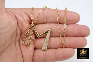 Gold Initial Chain Necklace, Cubic Zirconia Carabiner Initial Letters, Personalized Alphabet Choker - A Girls Gems