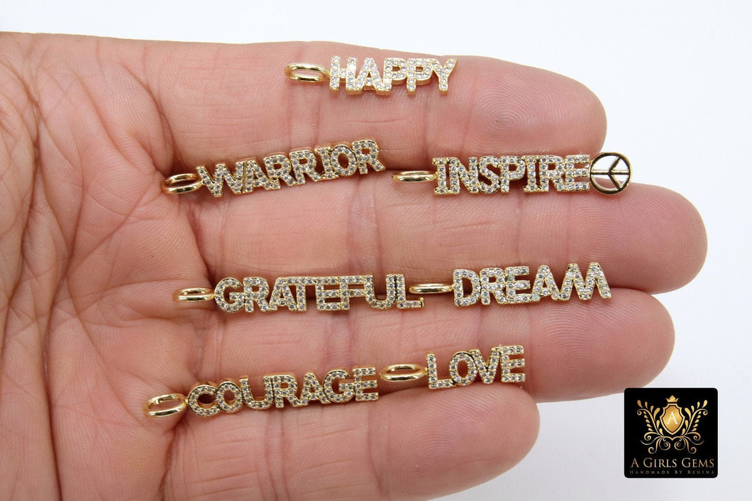 CZ Pave Tiny Dog Tags, Gold Word Charms, Inspirational Dog Tags, Oblong Rectangle Pendants, Courage, Dream, Love, Happy, Grateful Bars - A Girls Gems