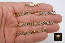 Load image into Gallery viewer, CZ Pave Tiny Dog Tags, Gold Word Charms, Inspirational Dog Tags, Oblong Rectangle Pendants, Courage, Dream, Love, Happy, Grateful Bars - A Girls Gems