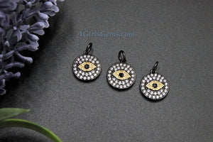 Evil Eye Charm, *NEW* Black and Gold CZ Micro Pave Small Round Disc Charm - A Girls Gems