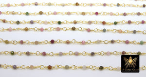 Genuine Multi Tourmaline Rosary Chain, Faceted 3 mm Diamond Cut Beaded Chains, Gold Wire Wrapped Beads - A Girls Gems