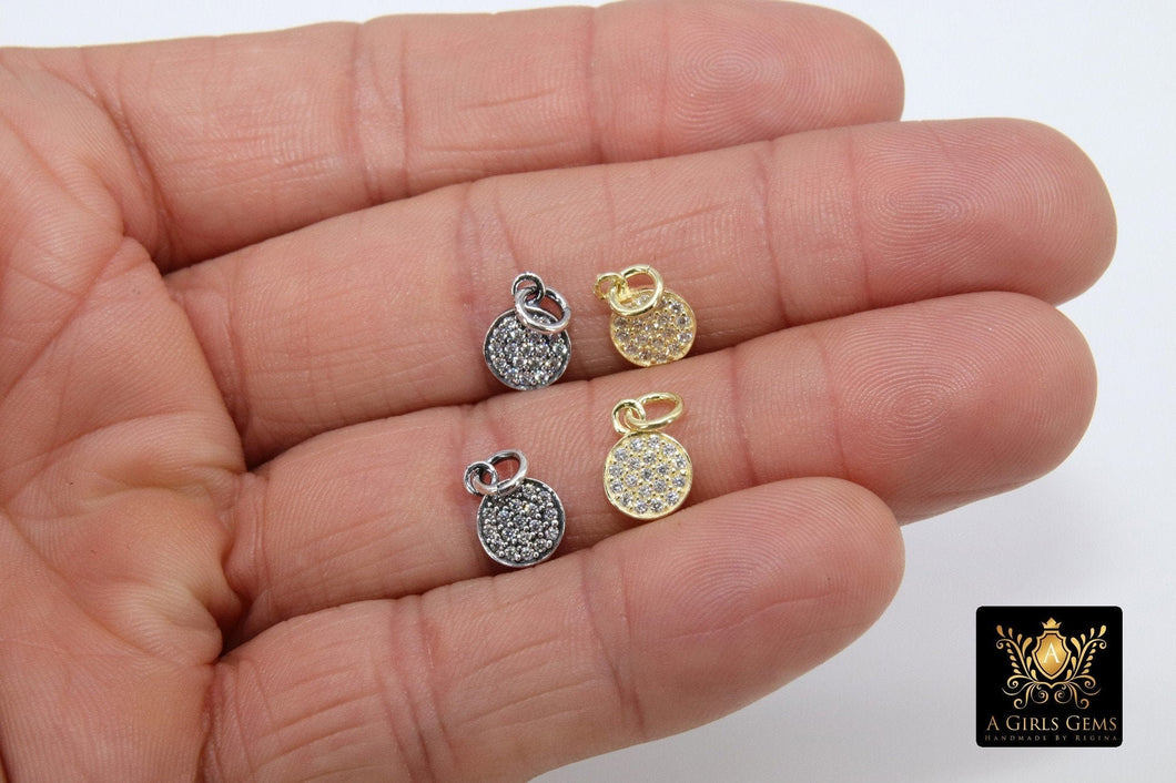 Silver Oxidized CZ Pave Disc Charm, 14 K Gold, 925 Sterling Silver Round Cubic Zirconia Charms #2142, 8 x 11 mm