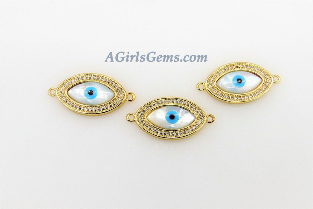 Evil Eye Charm Connectors, CZ Micro Pave Mother of Pearl Greek Evil Eye Connector Charm Beads, Turkish Shell Evil Eye Charms, Blue CZ Beads - A Girls Gems