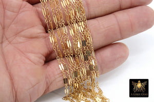 14 K Gold Filled Bar Chain, Unfinished Long Sequin 925 Sterling Silver Dapped Drawn Chains, 2.5 x 6.25 mm - A Girls Gems