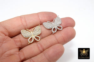 CZ Micro Pave Butterfly Connectors, Silver Butterfly Charms #200 - A Girls Gems
