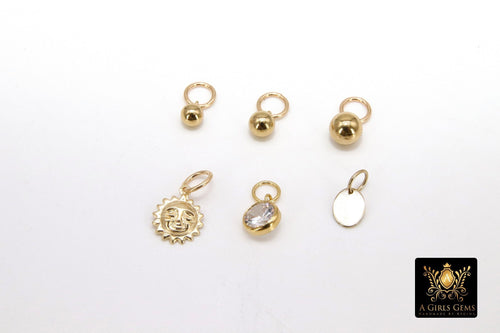 14 K Gold Filled Hoop Charms, Gold Hooplet Dangle Sun Charms for Necklace, Ball or CZ Huggies or Bracelets - A Girls Gems