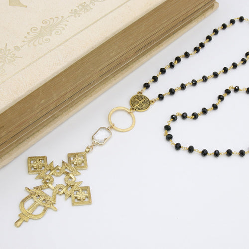 Gold Rosary Cross Necklace, Black Rosary Chain With Gold Brass Ethiopian Cross, Long Smoky Grey Rosary Necklaces - A Girls Gems