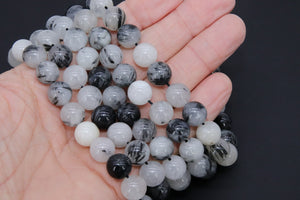 Natural Black Rutilated Quartz Beads Strands, Faceted Black and White Blended Beads BS #83, sizes in 12 mm 8 inch FULL Strands - A Girls Gems