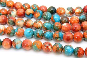 Fossil Beads, Smooth Round Dyed Blue, Orange, Aqua Beads BS #68, sizes in 10 mm 15.75 inch Strands - A Girls Gems