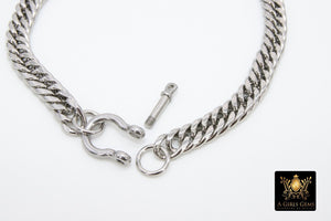 Silver and Gold Curb Chain Necklace, Shackle Chunky Necklace, Stainless Steel Jewelry - A Girls Gems
