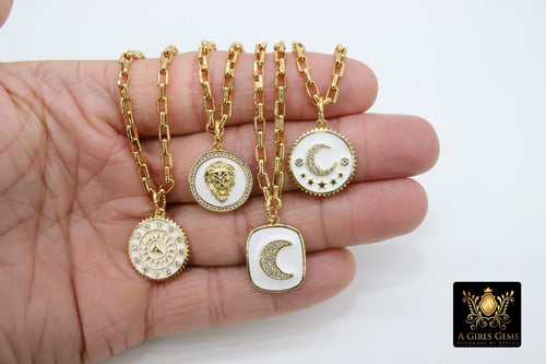 Gold Box Chain Necklace, Tiger White Enamel Rectangle Chain, CZ Moon or Sundial Clock with Pendants of Your Choice