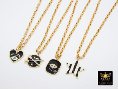 Gold Box Chain Necklace, Evil Eye or Heart Black Enamel Rectangle Chain, CZ Arrow and Star with Pendants of Your Choice - A Girls Gems
