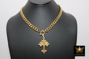 Gold Curb Chain Necklace, Stainless Steel Religious Necklace, St. Benedict Key or Cross, Fleur De Lei Cross - A Girls Gems