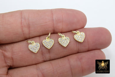 Gold CZ Heart Charms, Genuine Gold over 925 Silver Heart Charms #165, Love Necklace Pendants