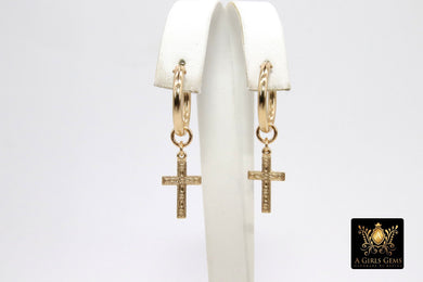 Gold Cross Hoop Earrings, 14 K Genuine Gold Filled Thick Hoop Religious Earrings #2136, 5 Sizes, Catholic Gifts for Her