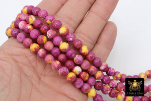 Pink and Yellow Beads, Smooth Mixed Fuchsia Red Jade Dyed Beads BS #98, Jewelry Beads sizes 8 mm 16.5 inch Strands