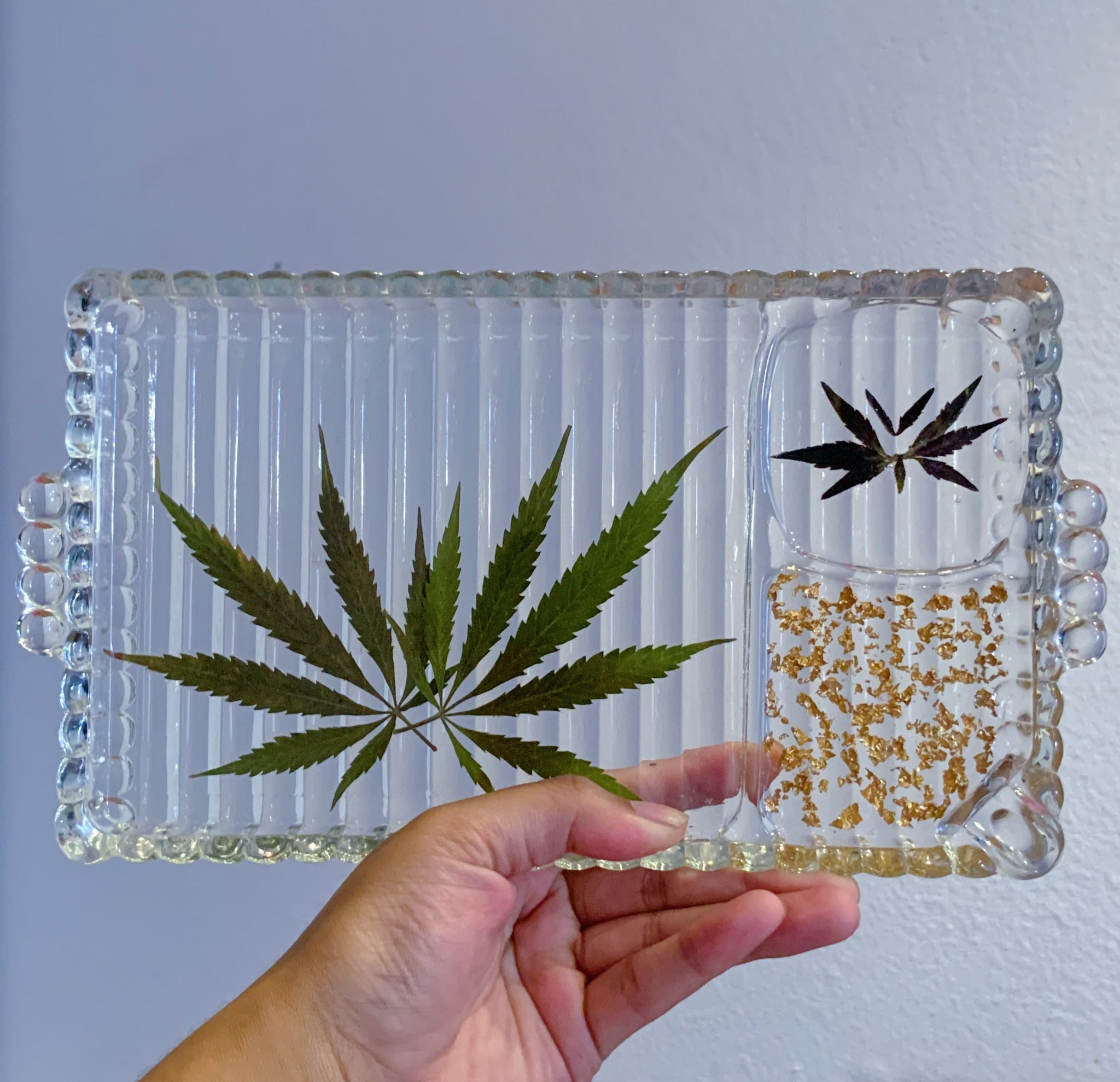 Gold Flake and Marijuana Leaf Vintage Glass Rolling Tray
