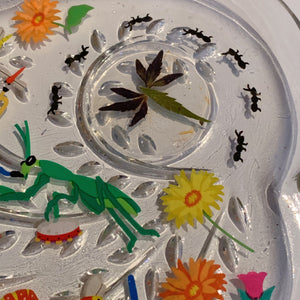 Insect Parade Vintage Glass Rolling Tray