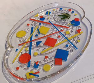 Primary Colors Vintage Glass Rolling Tray