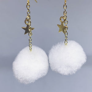 Snowball Dangly Gold Earrings