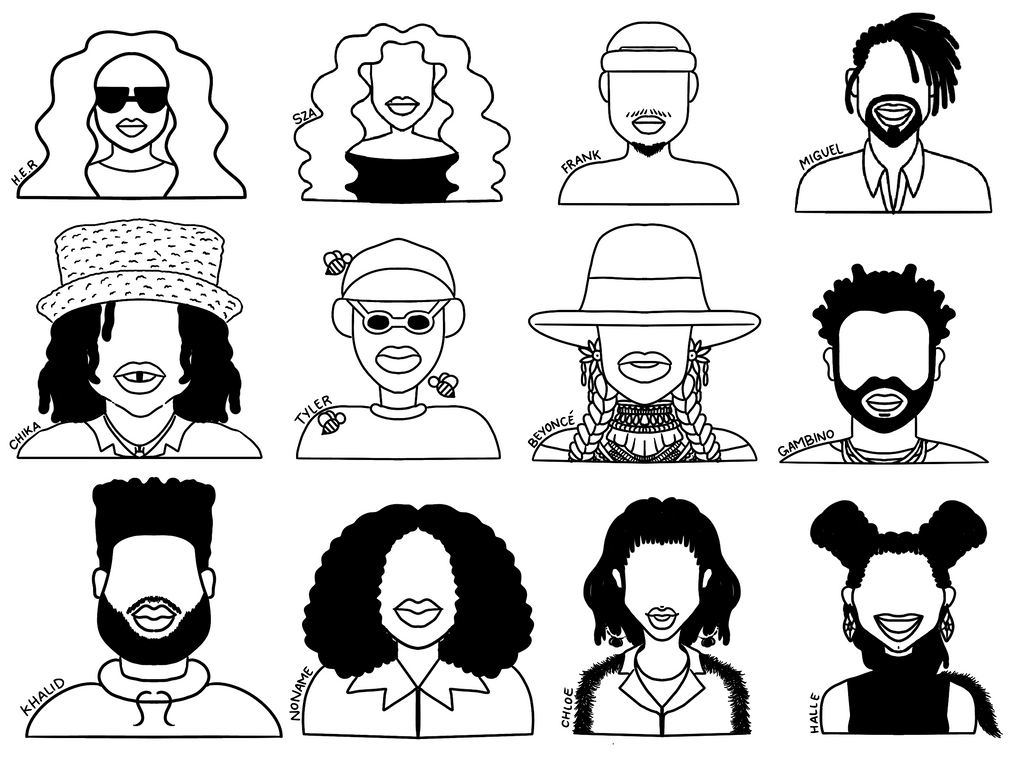 Black Artists That I Love (2020 Edit) Free Coloring Page
