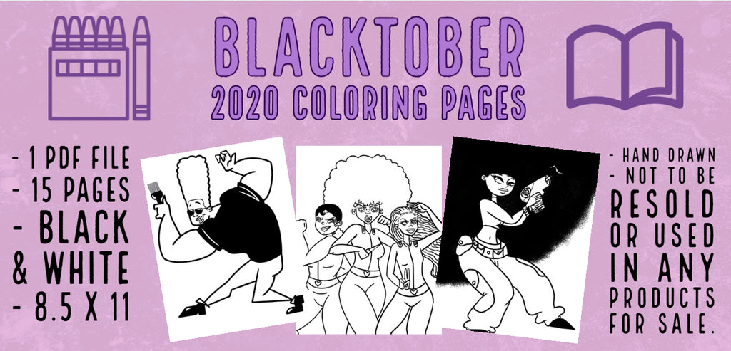 Blacktober 2020 Printable Coloring Pages