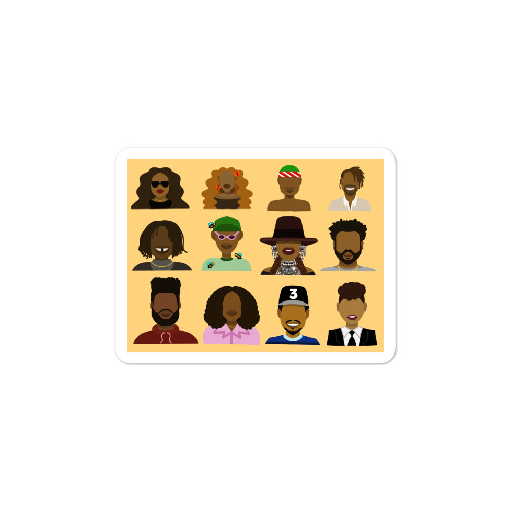 Black History Month 2020 - My Favorite Musicians Vinyl Sticker