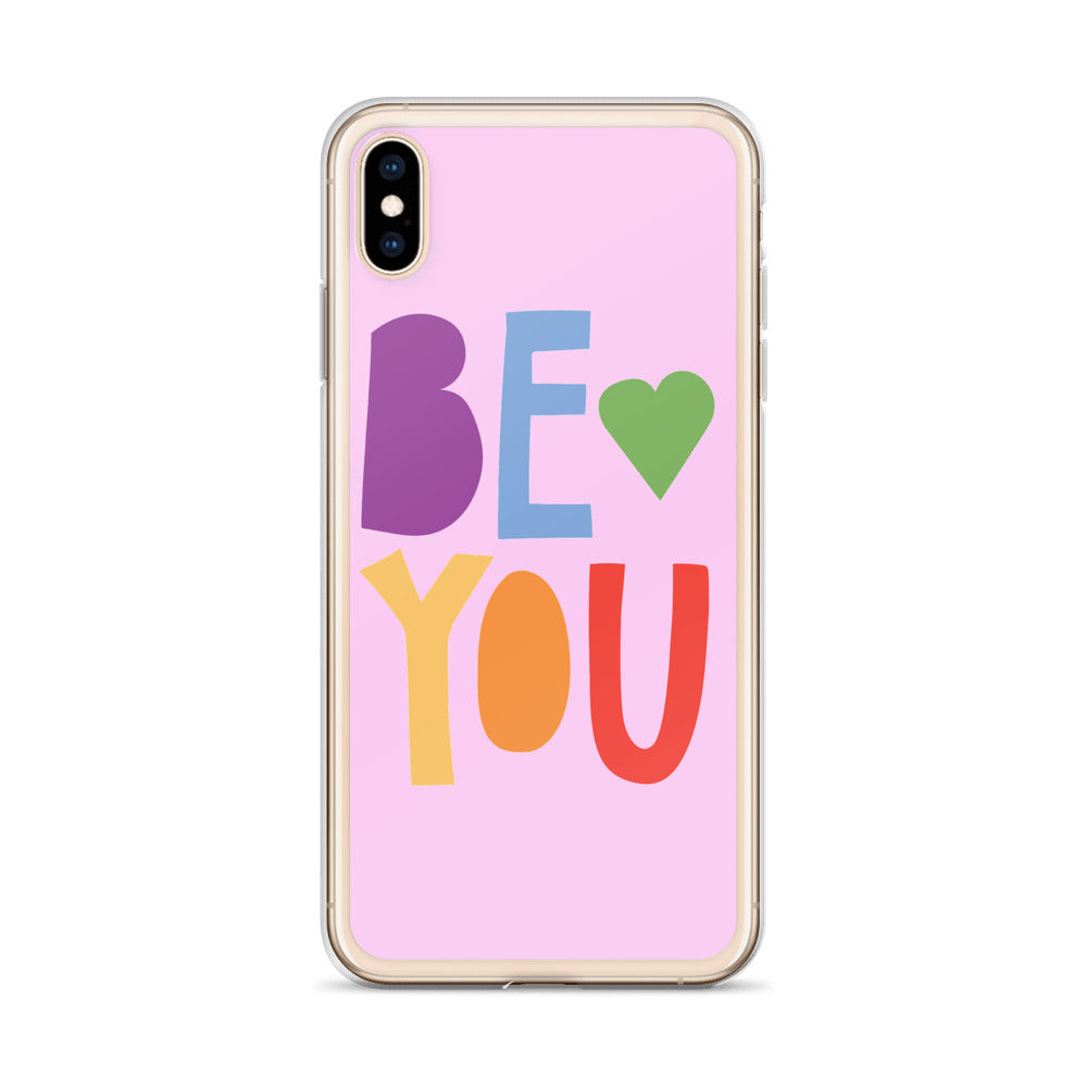 """Be You"" Rainbow Font iPhone Case - Royal Rainbow"