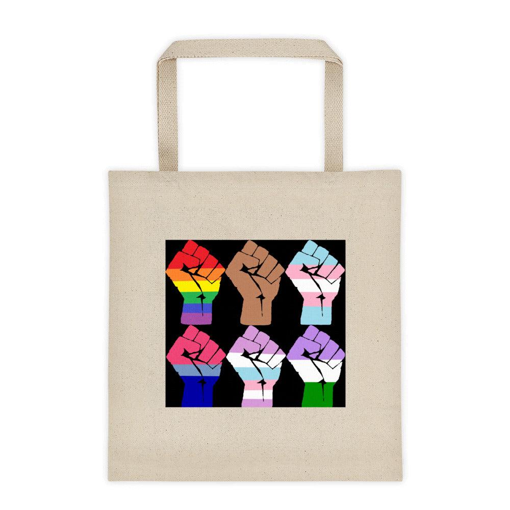6 Fists Resist Tote bag - Royal Rainbow