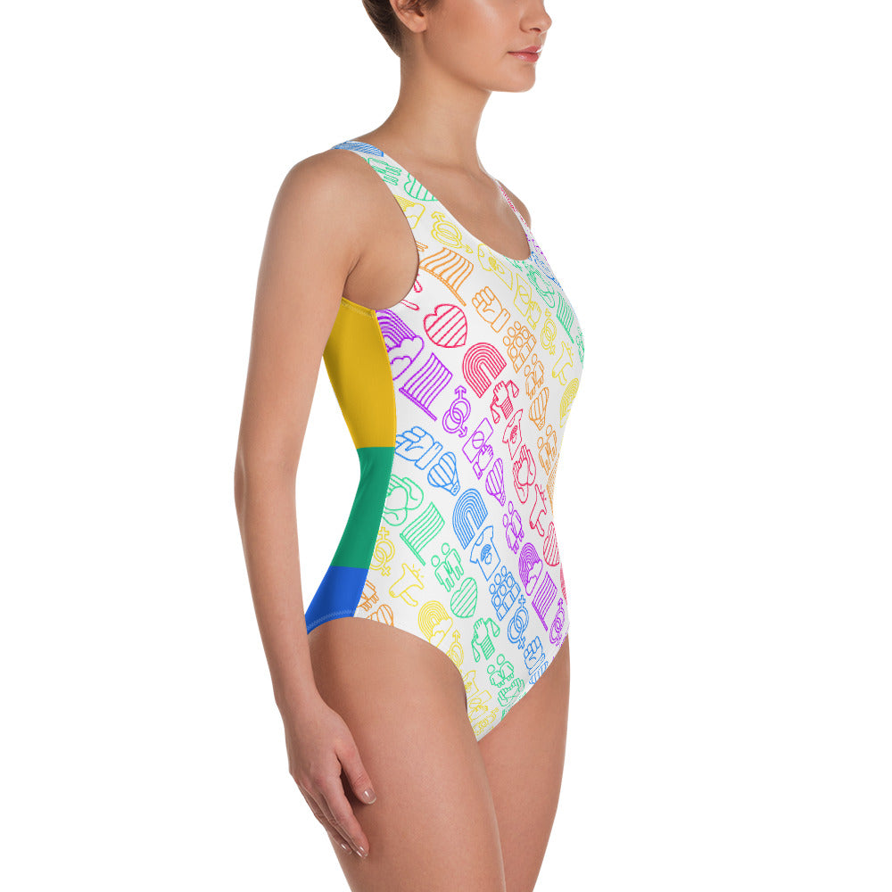 Pride One-Piece Swimsuit - Royal Rainbow
