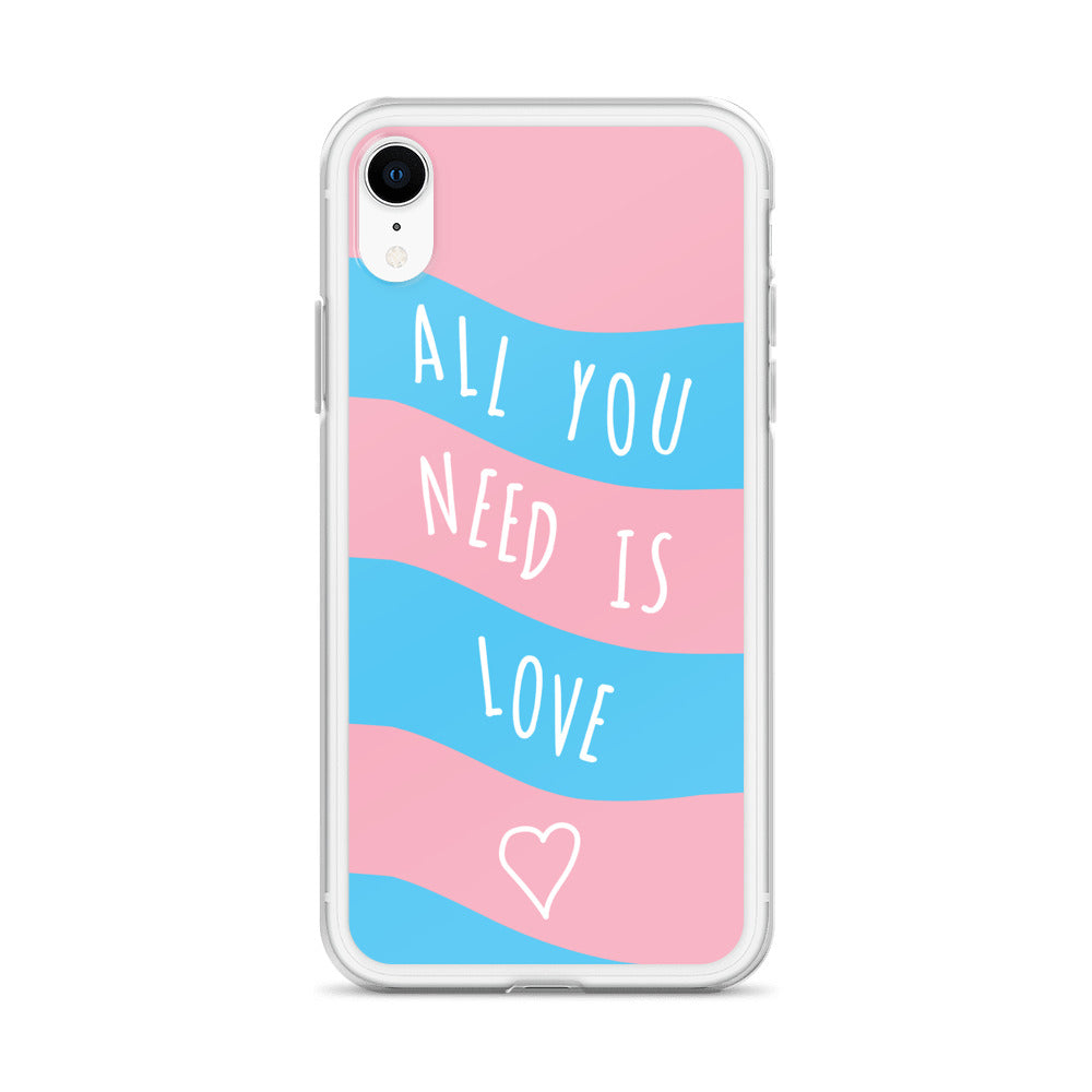 """All You Need Is Love"" Trans Flag iPhone Case - Royal Rainbow"