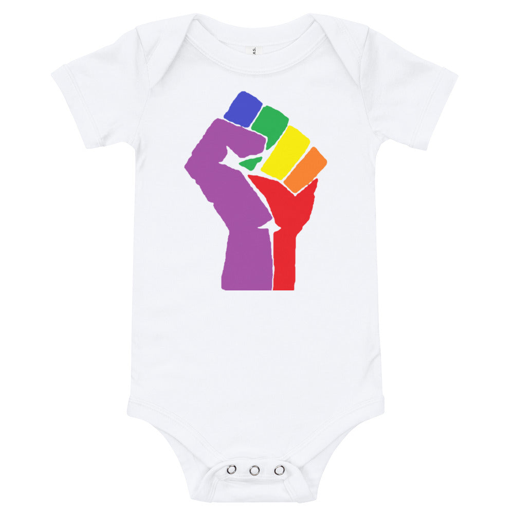 Rainbow Fist Resist Baby Onesie - Royal Rainbow