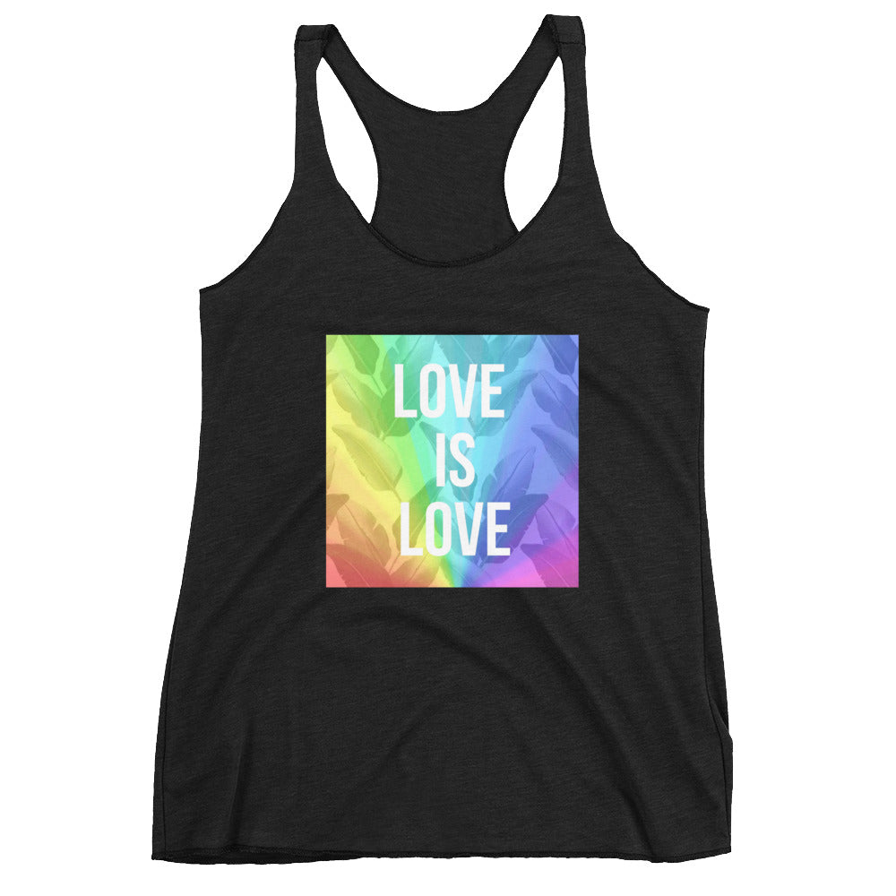 LOVE IS LOVE Women's Racerback Tank - Royal Rainbow