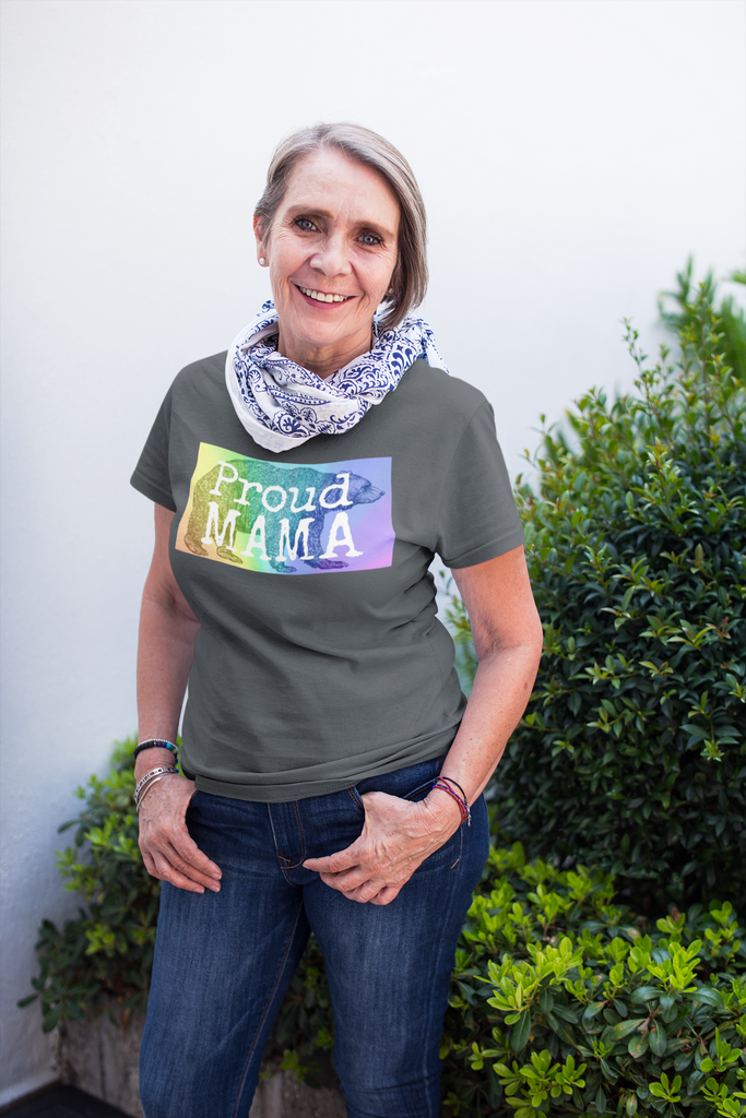 Proud Mama Bear Short-Sleeve T-Shirt - Royal Rainbow