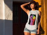 Rainbow Resist Fist Ladies' Cap Sleeve T-Shirt - Royal Rainbow