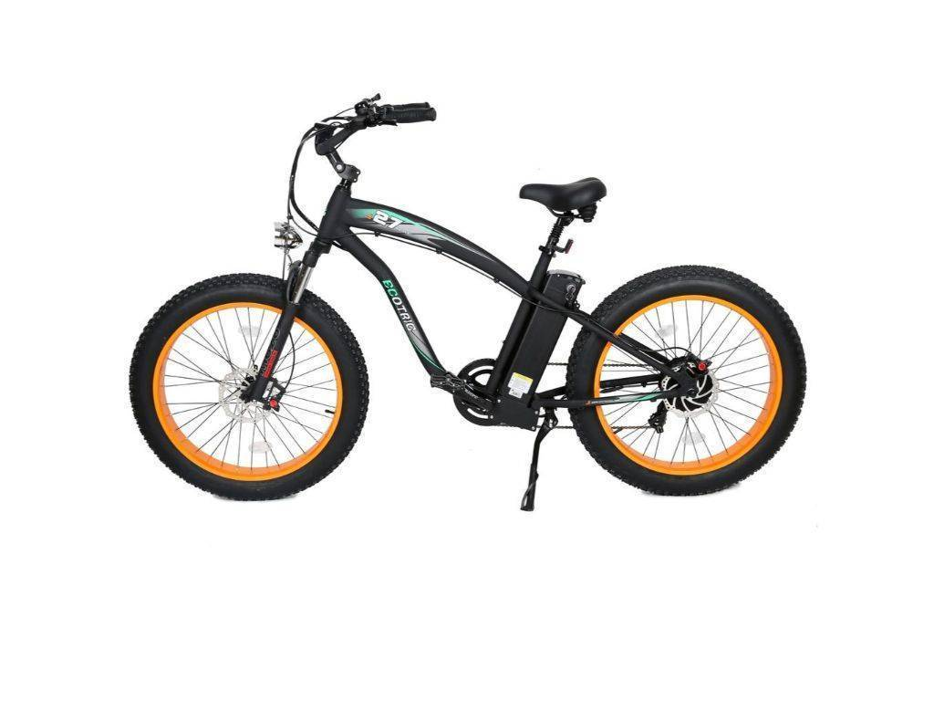 Orange Ecotric Hammer Electric Fat Tire Beach Snow Bike