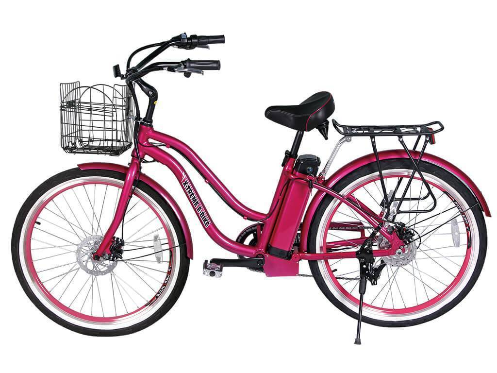 Pink X-Treme Malibu Elite Beach Cruiser Electric Bike -24 Volt