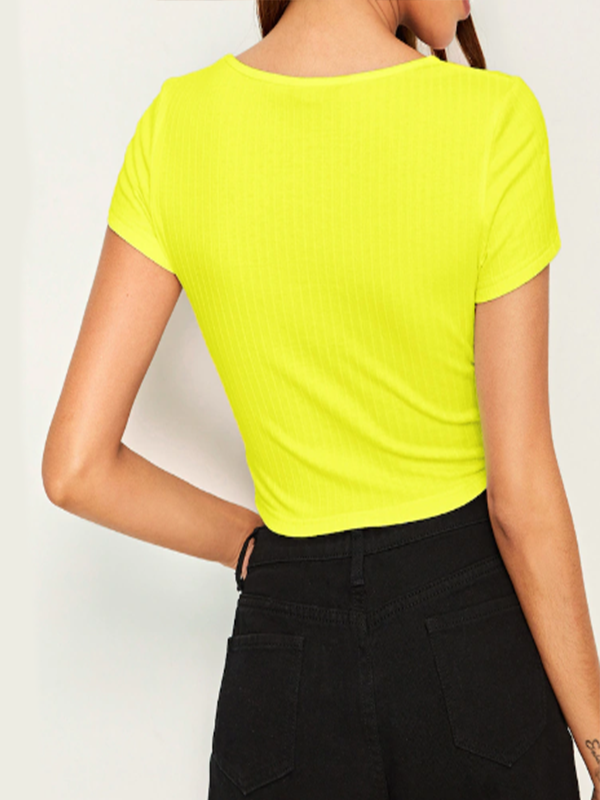 Neon Yellow Letter Print Rib-Knit Crop Top
