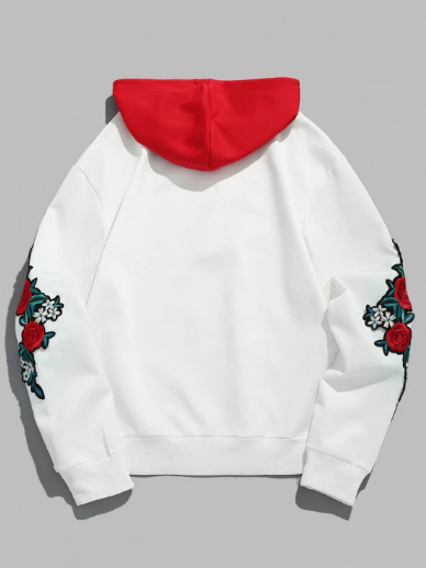 Embroidery Applique Sleeve Drawstring Hoodie - Love Red S